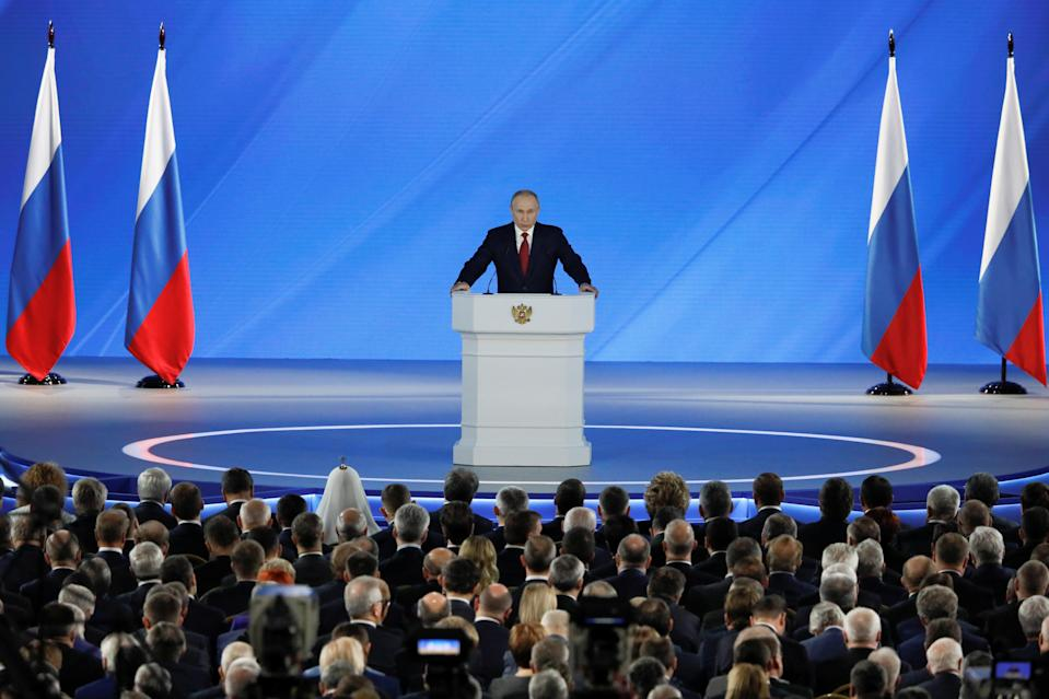 Russian President Putin delivers his address to the Federal Assembly in Moscow