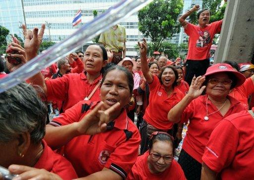 "Thai ""Red Shirt"" supporters shout sloagans during the terrorism trial of the group's leaders in Bangkok"