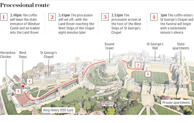 Duke of Edinburgh funeral – Processional route