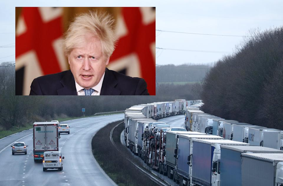 About 1,500 lorries were stuck on the M20 in Kent on Tuesday morning. Boris Johnson incorrectly said on Monday evening that the number had fallen to 170. (Andrew Matthews/PA)