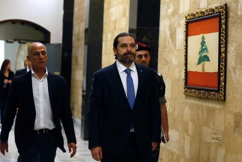 Lebanon's Prime Minister Saad al-Hariri arrives to attend a cabinet session at the Baabda palace