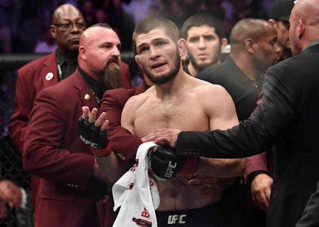 Conor McGregor and Khabib Nurmagomedov now know their fates for their roles in the UFC 229 brawl. (Photo by Brandon Magnus/Zuffa LLC/Getty Images)