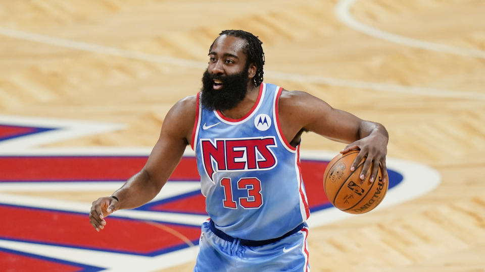Brooklyn Nets' James Harden (13) during the first half of an NBA basketball game against the Houston Rockets Wednesday, March 31, 2021, in New York. (AP Photo/Frank Franklin II)