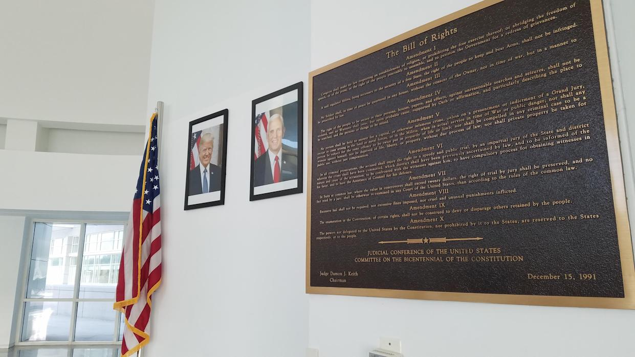 The Bill of Rights on display alongside the portraits of President Donald J. Trump and Vice President Mike Pence inside the District Court for the Eastern District of New York. Photo credit: Maylan L. Studart