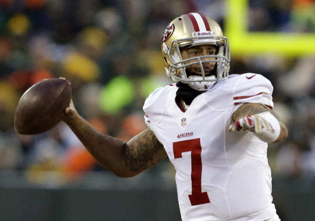 San Francisco 49ers quarterback Colin Kaepernick (7) throws a pass during the first half of an NFL wild-card playoff football game against the Green Bay Packers, Sunday, Jan. 5, 2014, in Green Bay, Wis. (AP Photo/Mike Roemer)
