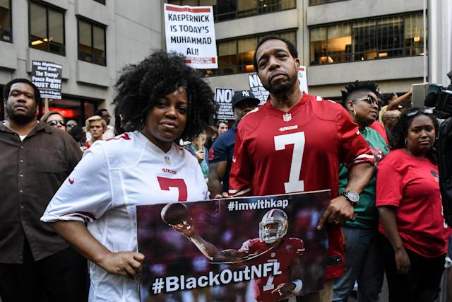 A protest outside NFL headquarters in New York in support of Colin Kaepernick on Aug. 23, 2017 (Reuters)