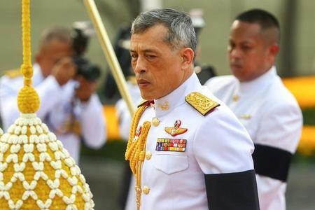 Thailand's King Maha Vajiralongkorn Bodindradebayavarangkun is seen at the monument of King Rama I after signing a new constitution in Bangkok