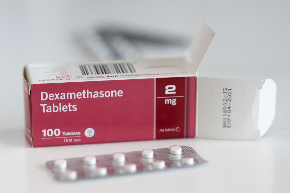 CARDIFF, UNITED KINGDOM - JUNE 16: A close-up of a box of Dexamethasone tablets in a pharmacy on June 16, 2020 in Cardiff, United Kingdom. Results of a trial announced today have shown that Dexamethasone, a cheap and widely used steroid drug which is used to reduce inflammation, reduced death rates by around a third in the most severely ill COVID-19 patients who were admitted to hospital. Researches have predicted 5,000 lives could have been saved had the drug been used to treat patients in the UK at the start of the pandemic.(Photo by Matthew Horwood/Getty Images)