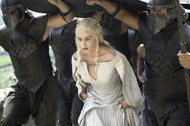 "<p>Previously, Daenerys was wearing a lot of white and light grey during her sojourn in Meereen. ""She's got this sense of power and also a sense of immortality,"" Clapton explained to <a href=""https://fashionista.com/2015/06/game-of-thrones-season-5-costume-designer-interview"" rel=""nofollow noopener"" target=""_blank"" data-ylk=""slk:Fashionista"" class=""link rapid-noclick-resp"">Fashionista</a>. It also makes her appear even more regal and untouchable. ""The idea behind the white and pale grey is the sense of removal, a removal from reality.""<br><br>(Photo Credit: HBO) </p>"