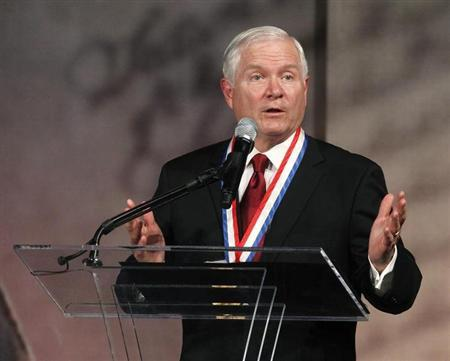 Former U.S. Defense Secretary Gates speaks after being awarded the Liberty Medal in Philadelphia