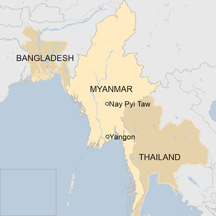 Map: A map showing where Myanmar is.