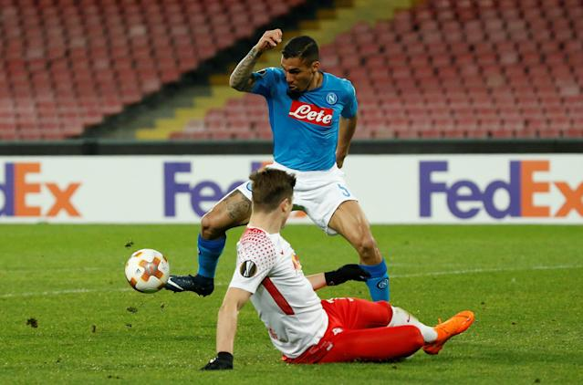Soccer Football - Europa League Round of 32 First Leg - Napoli vs RB Leipzig - Stadio San Paolo, Naples, Italy - February 15, 2018 Napoli's Allan in action REUTERS/Ciro De Luca