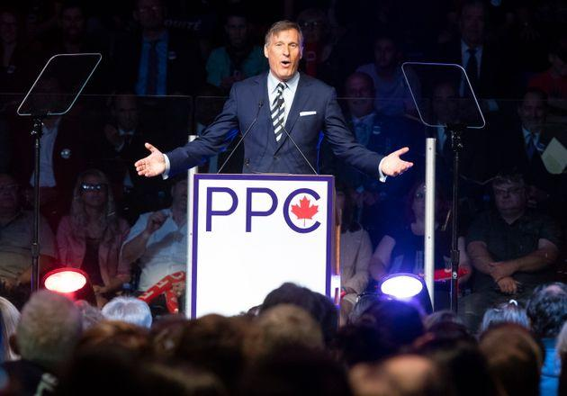 Maxime Bernier, leader of the People's Party of Canada, speaks in Sainte-Marie Que on Aug. 25, 2019.