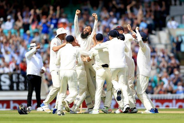 Moeen Ali, centre, memorably took a hat-trick against South Africa in 2017 (Nigel French/PA)
