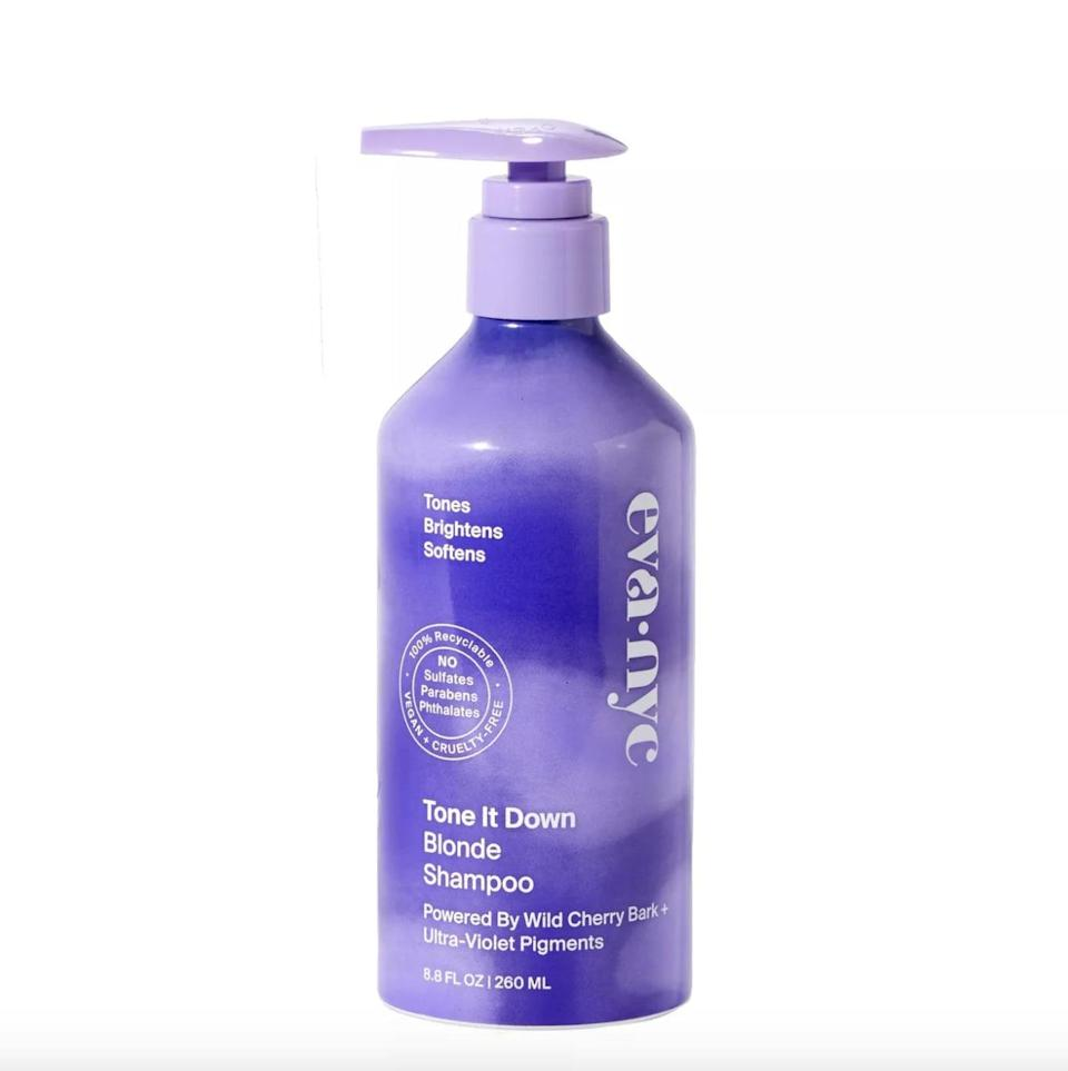 <p><span>Eva NYC Tone It Down Blonde Shampoo</span> ($13) restores strength to both natural and color-treated blond hair. It's infused with argan oil and shea butter, as well as violet pigments to keep hair bright and healthy-looking.</p>