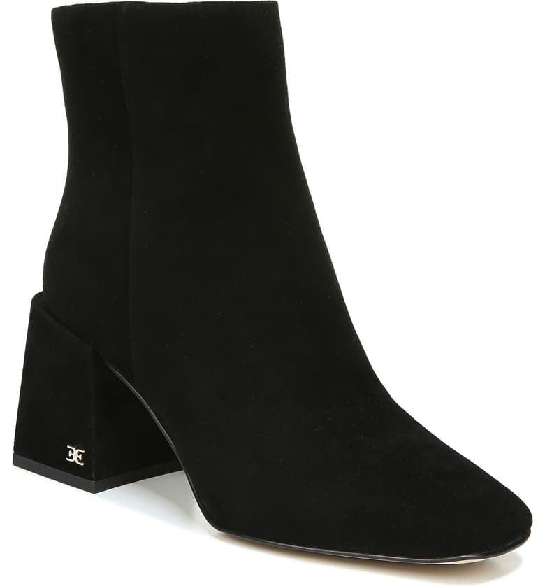 """<p><product href=""""https://www.nordstrom.com/s/sam-edelman-daruby-bootie-women/5589689?origin=category-personalizedsort&amp;breadcrumb=Home%2FAnniversary%20Sale%2FWomen%2FShoes&amp;color=black%20suede"""" target=""""_blank"""" class=""""ga-track"""" data-ga-category=""""Related"""" data-ga-label=""""https://www.nordstrom.com/s/sam-edelman-daruby-bootie-women/5589689?origin=category-personalizedsort&amp;breadcrumb=Home%2FAnniversary%20Sale%2FWomen%2FShoes&amp;color=black%20suede"""" data-ga-action=""""In-Line Links"""">Sam Edelman Daruby Booties</product> ($100, originally $170)</p>"""
