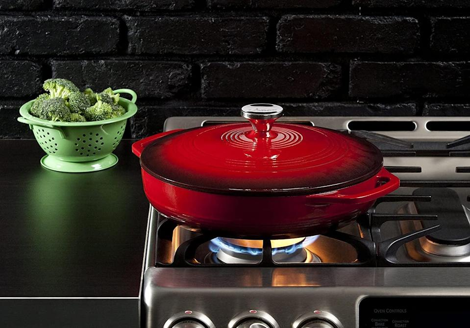 <p>Sear your favorite meats and veggies in this gorgeous <span>Lodge 3.6 Quart Cast Iron Casserole Pan With Dual Handles and Lid</span> ($89).</p>