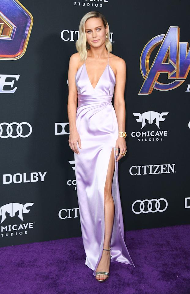 <p>We marveled at Larson's parade of downright heroic looks this year, which featured everything from couture capes to custom jewelry. Plus, the actress wasn't afraid to show a little leg in a purple Celine by Hedi Slimane dress, which she wore to the premiere of <em>Avengers: Endgame</em>.</p>