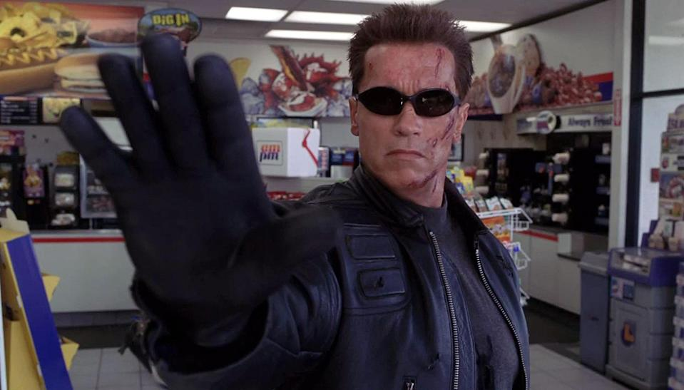 """<p>Opinions vary about the first James Cameron-free entry in Schwarzenegger's signature series, but we think it's fair to say it holds up far better than the subsequent 'Terminator: Salvation' and 'Terminator: Genisys.' It also boasts at least one great quote, as the T-800 – repeating trash talk heard from a male stripper – tells a would-be assailant, """"Talk to the hand."""" (Picture credit: Warner Bros) </p>"""