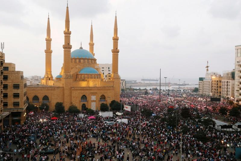 A general view of demonstrators during an anti-government protest in downtown Beirut