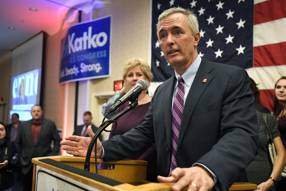 FILE - This Tuesday Nov. 6, 2018 file photo shows Rep. John Katko, R-N.Y., as he thanks his supporters at the Onondaga County GOP Election Night Celebration in Syracuse, N.Y. Dana Balter, the Democrat challenging Republican U.S. Rep. John Katko in a battleground district in central New York conceded the race Friday, Nov. 13, 2020. (AP Photo/Adrian Kraus, File)