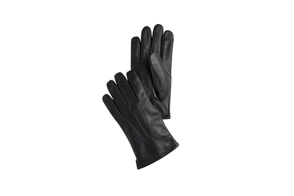 "$98, J.Crew. <a href=""https://www.jcrew.com/p/mens_category/scarveshatsgloves/gloves/leather-gloves-with-woolcashmere-lining/H2738?sale=true&isFromSale=true&color_name=black"" rel=""nofollow noopener"" target=""_blank"" data-ylk=""slk:Get it now!"" class=""link rapid-noclick-resp"">Get it now!</a>"