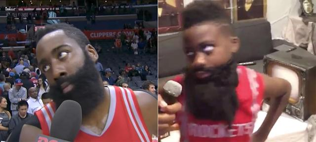 James Harden, meet James Harden. (Screencaps via ROOT Sports, @SugaSham)