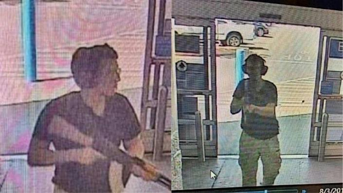 This photo shows the armed suspect entering the Walmart store in El Paso, Texas, on August 3, 2019 (AFP Photo/Courtesy of KTSM 9)