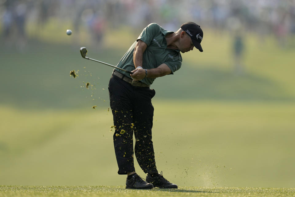 Brian Harman hits from the first fairway during the first round of the Masters golf tournament on Thursday, April 8, 2021, in Augusta, Ga. (AP Photo/Matt Slocum)