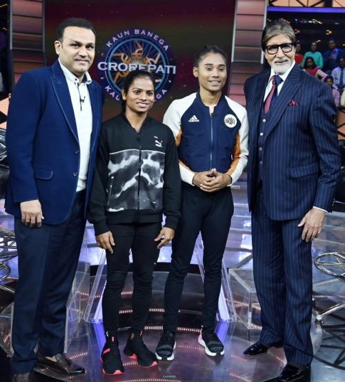 Amitabh Bachchan with Virender Sehwag, Dutee Chand and Hima Das.