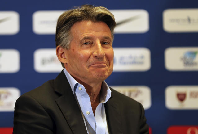FILE - In this Thursday, May 2, 2019 file photo, IAAF President Sebastian Coe, attends a press conference ahead of the Doha IAAF Diamond League in Doha, Qatar. IAAF President Sebastian Coe discusses the impact of Usain Bolt's absence from the upcoming world championships in a wide-ranging interview with The Associated Press, and expresses his hope that emerging young athletes will make their own mark at the Sept. 27-Oct. 6, 2019 event. (AP Photo/Kamran Jebreili, File)