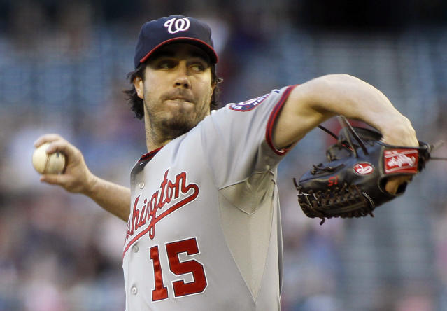 Washington Nationals pitcher Dan Haren delivers against the Arizona Diamondbacks during the first inning of a baseball game on Saturday, Sept. 28, 2013, in Phoenix. (AP Photo/Ralph Freso)