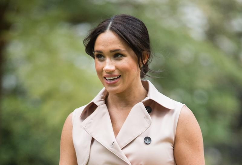 JJOHANNESBURG, SOUTH AFRICA - OCTOBER 02: Meghan, Duchess of Sussex visits the British High Commissioner's residence to attend an afternoon reception to celebrate the UK and South Africa's important business and investment relationship, looking ahead to the Africa Investment Summit the UK will host in 2020. This is part of the Duke and Duchess of Sussex's royal tour to South Africa. on October 02, 2019 in Johannesburg, South Africa. (Photo by Samir Hussein/WireImage)