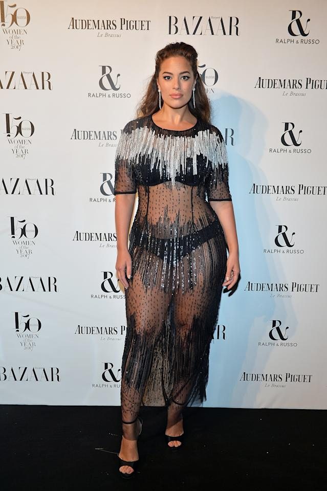 <p>The American model showed off her curves in a see-through beaded dress by Marina Rinaldi.<br /><i>[Photo: Getty]</i> </p>