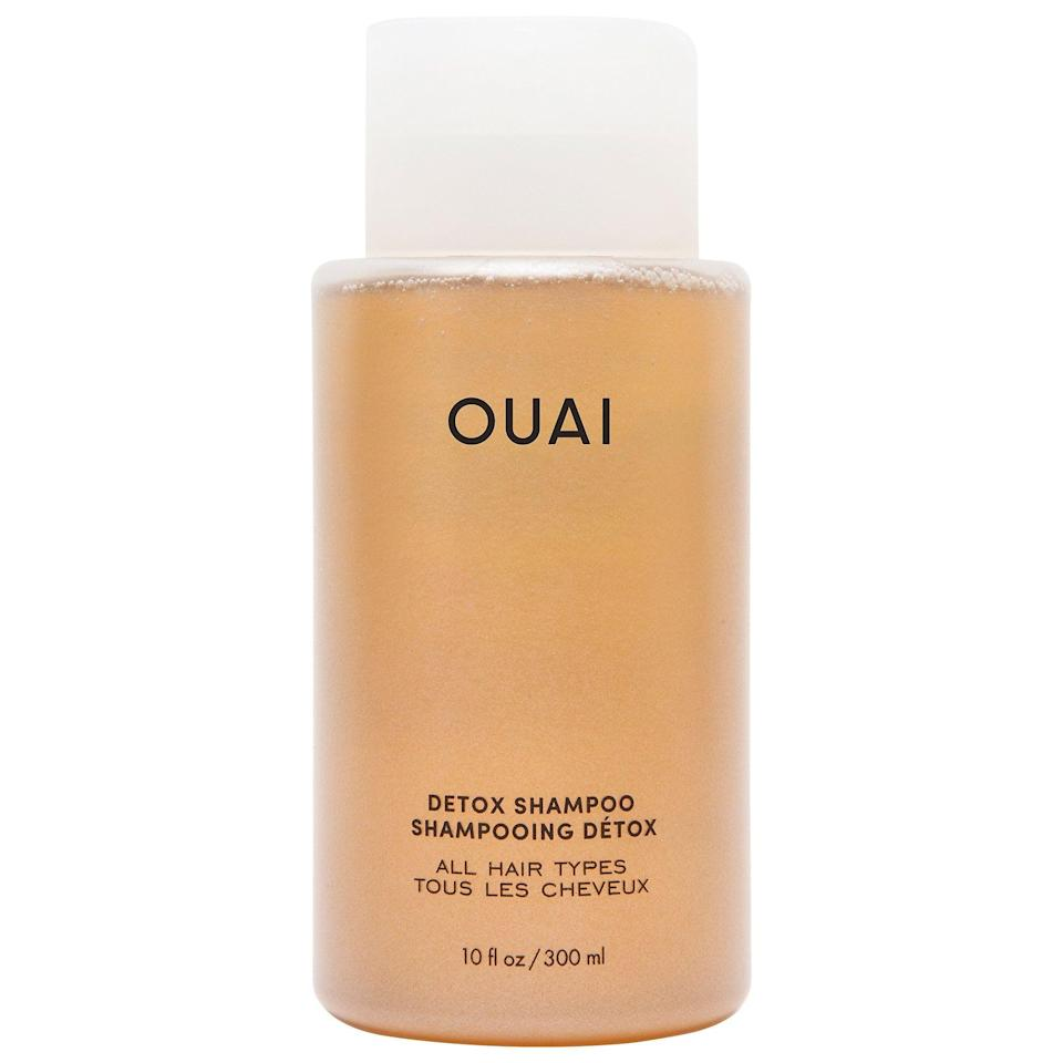 """<p><strong>OUAI</strong></p><p>sephora.com</p><p><strong>$30.00</strong></p><p><a href=""""https://go.redirectingat.com?id=74968X1596630&url=https%3A%2F%2Fwww.sephora.com%2Fproduct%2Fouai-haircare-detox-shampoo-P457223&sref=https%3A%2F%2Fwww.cosmopolitan.com%2Fstyle-beauty%2Fbeauty%2Fg20716291%2Fbest-clarifying-shampoo%2F"""" rel=""""nofollow noopener"""" target=""""_blank"""" data-ylk=""""slk:Shop Now"""" class=""""link rapid-noclick-resp"""">Shop Now</a></p><p>Dealing with build-up <em>and</em> damaged curls? This clarifying shampoo is infused with <a href=""""https://www.cosmopolitan.com/style-beauty/beauty/a30786071/apple-cider-vinegar-for-hair/"""" rel=""""nofollow noopener"""" target=""""_blank"""" data-ylk=""""slk:apple cider vinegar"""" class=""""link rapid-noclick-resp"""">apple cider vinegar</a> to get rid of excess oil and irritating flakes—plus a dose of <strong>hydrolyzed keratin to repair and strengthen your hair </strong>for a smooth, shiny finish. After you wash, follow up with a <a href=""""https://www.cosmopolitan.com/style-beauty/beauty/g28313157/best-deep-conditioner/"""" rel=""""nofollow noopener"""" target=""""_blank"""" data-ylk=""""slk:deep-conditioning treatment"""" class=""""link rapid-noclick-resp"""">deep-conditioning treatment</a>, and you'll be good to go.</p>"""