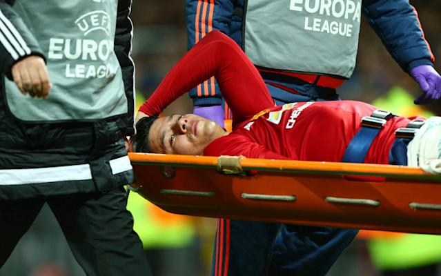 <span>The Argentina international was stretchered off at Old Trafford on Thursday</span> <span>Credit: AP </span>