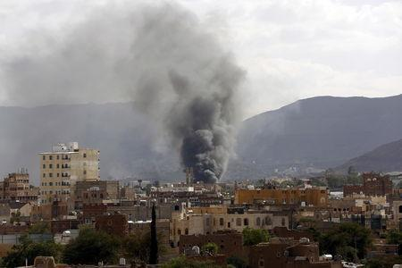 FILE PHOTO: Smoke rises from a military base after it was hit by Saudi-led air strikes in Yemen's capital Sanaa, September 10, 2015. REUTERS/Khaled Abdullah