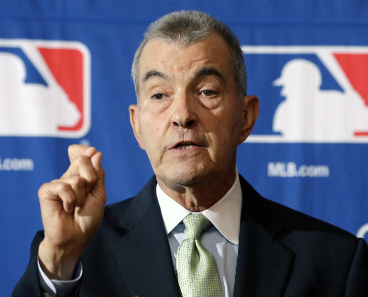 Atlanta Braves President John Schuerholz speaks during a news conference following Major League Baseball meetings at the Otesaga Hotel on Thursday, Aug. 15, 2013, in Cooperstown, N.Y. (AP Photo/Mike Groll)