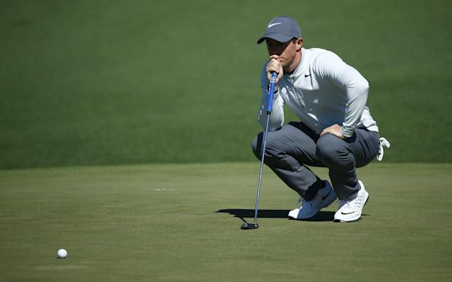 <span>Rory McIlroy lines up a putt on day three at Augusta</span> <span>Credit: USA/Rex/Shuttershock </span>