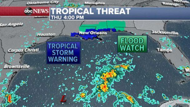 PHOTO: A tropical storm warning in effect from Louisiana to the Alabama/Florida border, including New Orleans. (ABC News)