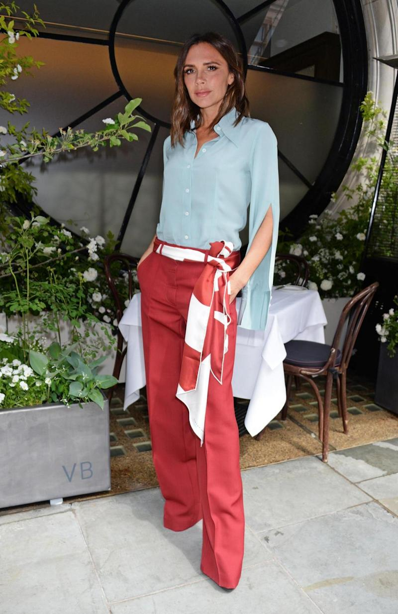 Victoria Beckham unveils the Scott's Mayfair 2018 summer terrace which she designed in collaboration with florist Flora Starkey at Scott's Mayfair ((Credit too long, see caption))