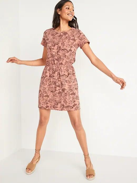 <p>There are a bunch of patterns and solids to pick from with this short <span>Old Navy Waist-Defined Slub-Knit T-Shirt Dress</span> ($30), and it also comes in a longer <span>Old Navy Waist-Defined Slub-Knit Midi Dress For Women</span> ($30, originally $35) version, too.</p>