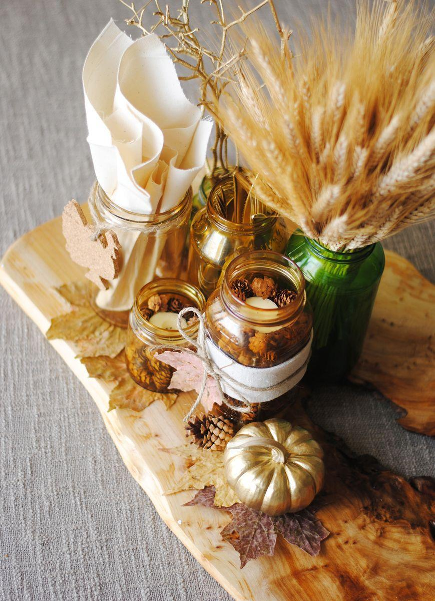 "<p>Give common household items a makeover for this festive project. Mix Mod Podge with food coloring and add leaves to help jars get straight to the point: It's fall.</p><p><em><a href=""http://www.knowhowshedoesit.com/2013/11/thanksgiving-centerpiece.html#.VgBWYCBVhBc"" rel=""nofollow noopener"" target=""_blank"" data-ylk=""slk:Get the tutorial at I Don't Know How She Does It! »"" class=""link rapid-noclick-resp"">Get the tutorial at I Don't Know How She Does It! »</a></em></p>"