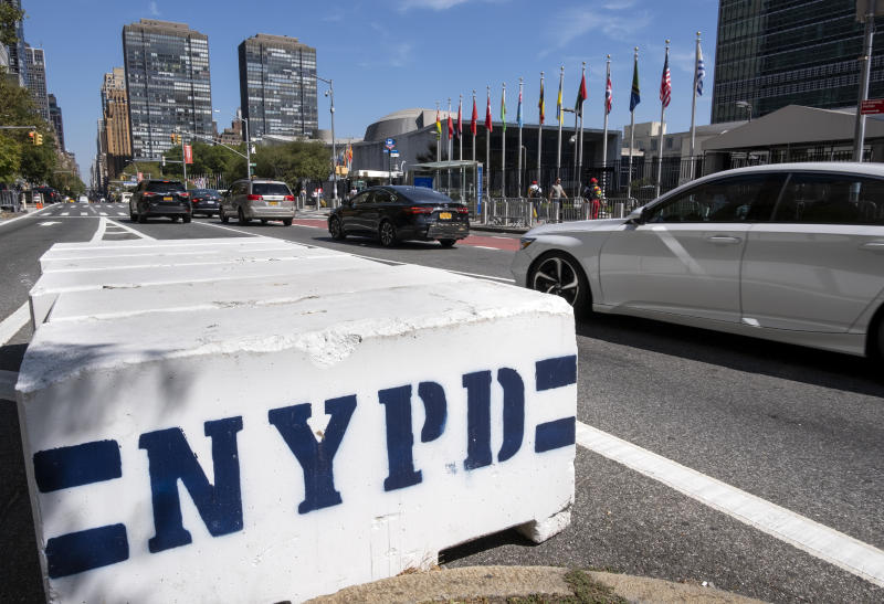 Security barriers stand along 1st Avenue in New York near United Nations Headquarters Saturday, Sept. 21, 2019, as the United Nations General Assembly gets underway today and into the coming week. (AP Photo/Craig Ruttle)