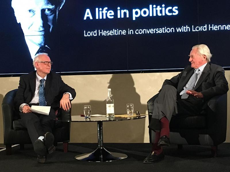Lord Heseltine speaking in Oxford; the Tory peer was sacked by Theresa May for rebelling over Brexit