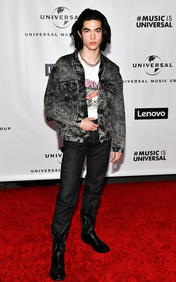 "<a href=""https://www.teenvogue.com/story/conan-gray-music-month?mbid=synd_yahoo_rss"" target=""_blank"">Conan Gray</a> showed up at the Universal Music Group after-party in this very rock-and-roll ensemble."