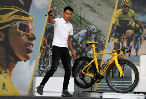 Colombia's Tour de France winner Egan Bernal waves to fans at his hometown of Zipaquira