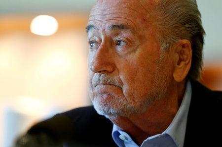 FILE PHOTO: Former FIFA President Sepp Blatter attends an interview in Zurich, Switzerland April 21, 2017. REUTERS/Arnd Wiegmann/File Photo