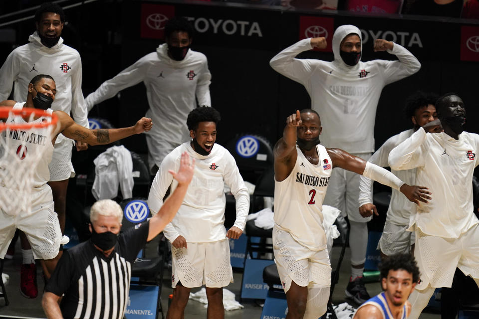 San Diego State players on the bench react during the final minute of the team's 73-58 win over UCLA in an NCAA college basketball game Wednesday, Nov. 25, 2020, in San Diego. (AP Photo/Gregory Bull)
