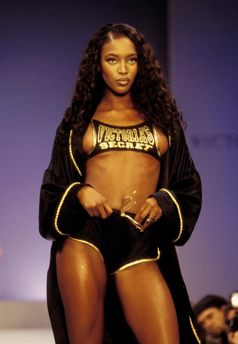 Naomi Campbell at the 1997 Victoria's Secret Fashion Show, inside the Plaza Hotel in New York.